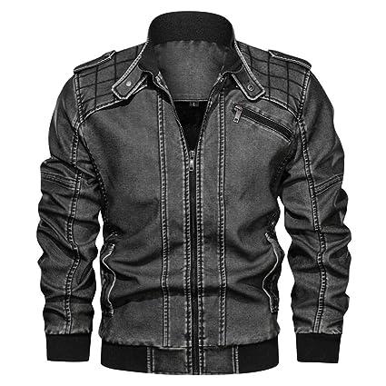 ZODOF Jacket Chaqueta de Cuero de Cuello Alto sin Sombrero Vintage ...