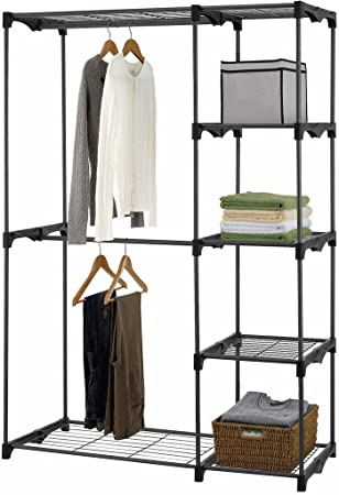 Amazon.com: iuhome Double Rod Freestanding Closet Organizer, Silver: Home u0026  Kitchen
