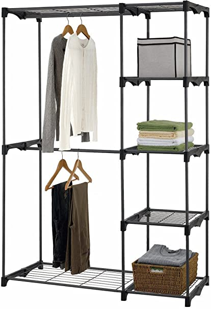 Charmant Iuhome Double Rod Freestanding Closet Organizer, Silver