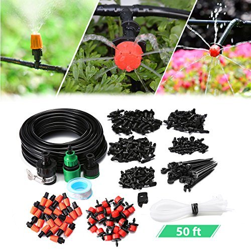 (AGSIVO Drip Irrigation Kits Garden Watering System Included 50 Feet Tubing Connectors Hole Puncher Atomizing Nozzle Mister Dripper and All Accessories for Plant Watering)