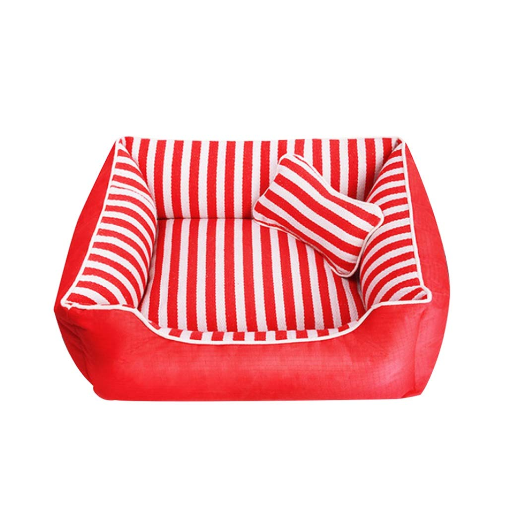 Medium Dog Bed, Winter Keep Warm Soft Waterproof Washable Pet Basket Mat Cushion with Pillow Small Medium Large XL Red (Size   M)