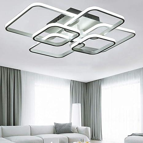Lámpara de sala de luz de techo LED sala de luz blanca fría Lámpara de techo de la plaza blanca Lámpara de sala de 6 lámparas de llama Habitación para ...