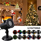 Christmas Light Projector, JUSTUP LED Landscape Projector Spotlight Patio Lawn light with 12pcs Switchable Pattern Waterproof for Christmas Halloween Holiday Home Decoration Wall (12 slides) Review
