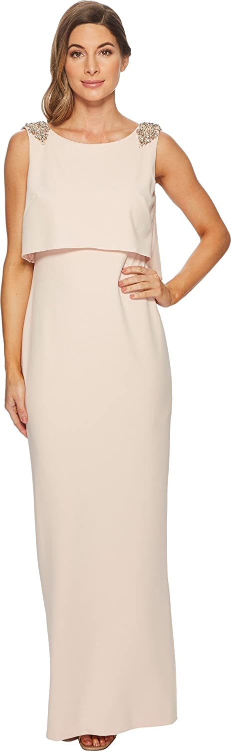 Adrianna Papell Womens Long Stretch Crepe Pop Over Gown With Beaded Shoulder Detail