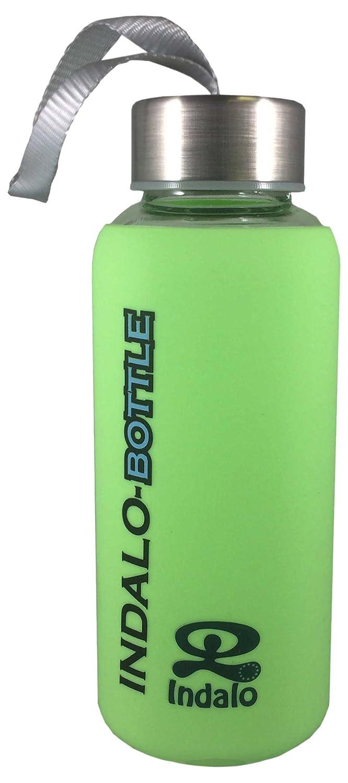 Indalo botella de cristal - cristal de borosilicato botella de agua de bebida y tapa de acero inoxidable exprimidor - uso con pasador y transporte ...