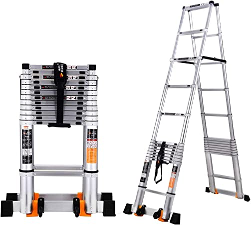 ZR- Escalera Telescópica De Múltiples Fines Aluminio Telescópico Un Cuadro Escalera Plegable Extensión Extensible Capacidad De Carga De 330 Lb Norma EN131 -Fácil de almacenar y fácil de llevar: Amazon.es: Hogar