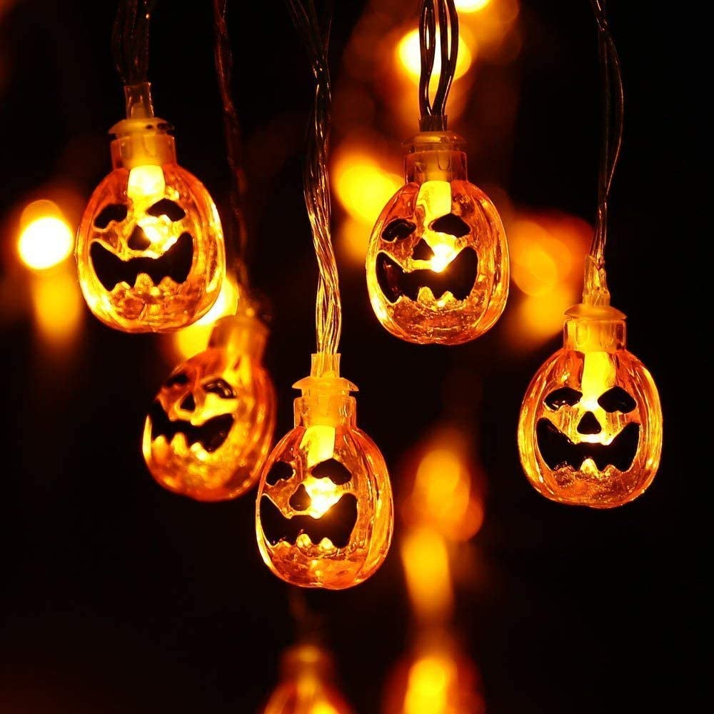 Halloween Pumpkin Lights - 2 Packs 30 LED Battery Operated Halloween Decorations String Lights (Orange Lights)