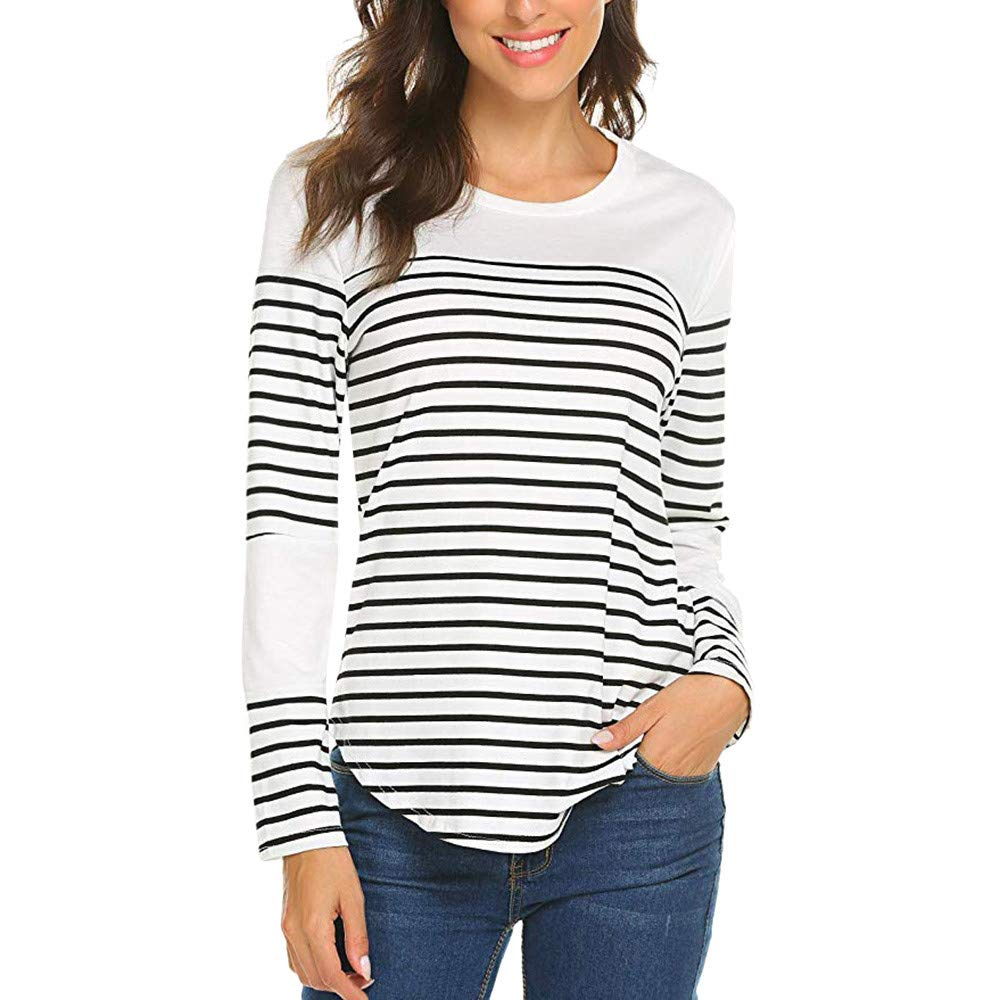 Rambling Women Color Block Striped Patchwork Long Sleeve Round Neck Patchwork Pullover Top