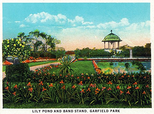 Chicago, Illinois - View of Garfield Park Lily Pond and Band Stand (12x18 Fine Art Print, Home Wall Decor Artwork Poster)