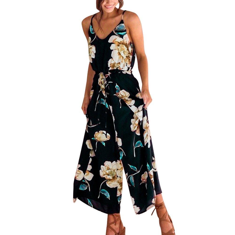 Hemlock Women Summer Jumpsuit Rompers Wide Leg Pants Tunic Tank Vest Long Trouser Strappy Floral Beach Playsuits (XL, Navy)