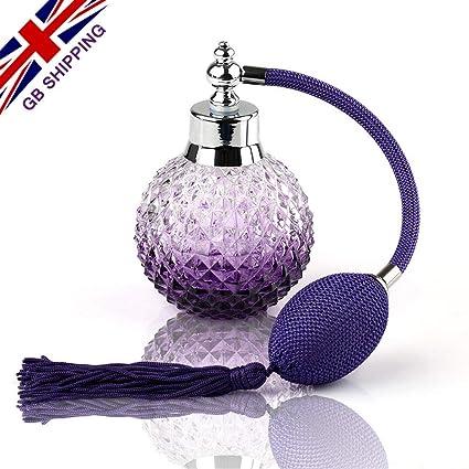 VERY100 - Vaporizador de Perfume (Recargable, Cristal, diseño Vintage, Frasco de Gran