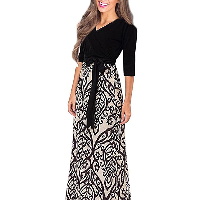 3ded6ebb530 SUNTTON Women s V-Neck 3 4 Sleeves Long Maxi Casual Party Dress with ...