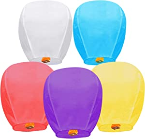 Chinese Paper Lanterns 5 Pack Multicolored Sky Lanterns are Environmentally Friendly and 100% Biodegradable Wishing Lanterns for Weddings, New Years, Festivals, Celebrations and Memorials
