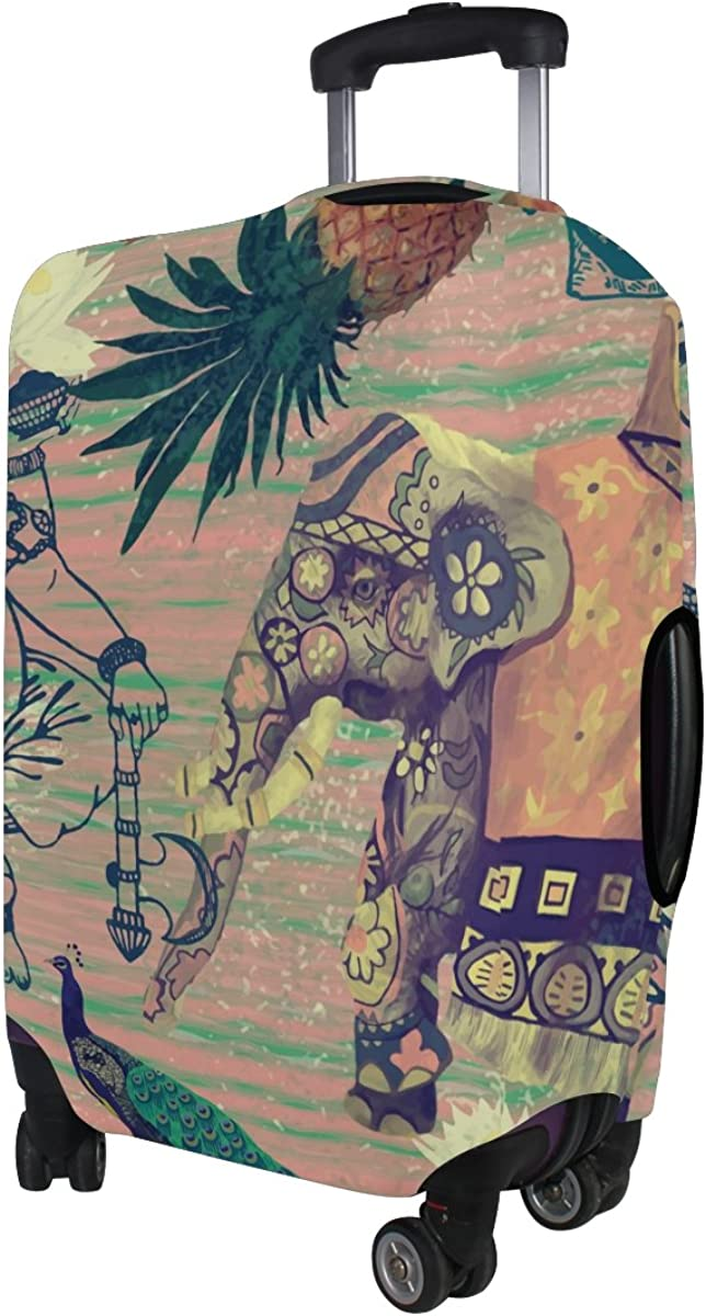 LAVOVO Pineapples Indian Elephants Luggage Cover Suitcase Protector Carry On Covers