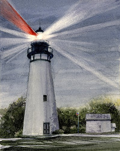 - Amelia Island Lighthouse, Florida, by Gerald C. Hill. Matted Watercolor Art Prints (8x10)
