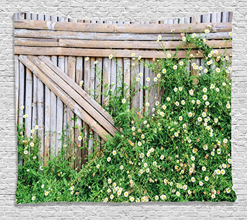 Farm House Decor Tapestry by Ambesonne, Bamboo Fence Covered by Ivy Daisy Flower Blooms Chamomile Petals Picture, Wall Hanging for Bedroom Living Room Dorm, 60 W X 40 L Inches, Green and Light Brown (Bamboo Friendly Fence)