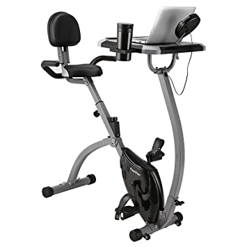 Finether Fitness Bike Exercise Bike Home Trainer Home Exercise Equipment:  Folding Magnetic Exercise Bike with Backrest│Desktop│Cup Holder│LCD