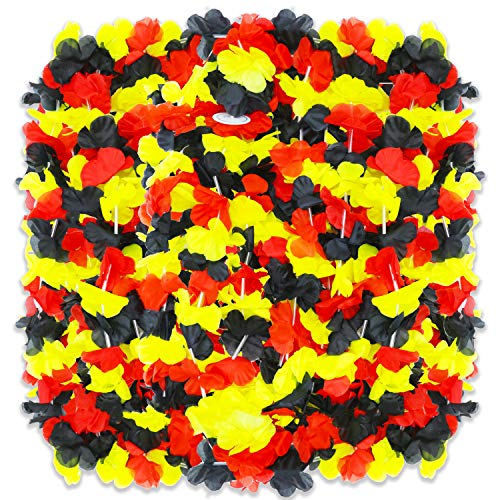 PARTYMASTER Hawaiian Decoration Red Black and Yellow Perfect Combination Luau Flower Leis Tropical Party,Pack of 30 -