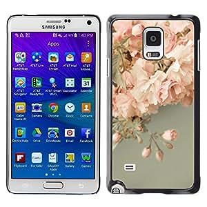 LECELL--Funda protectora / Cubierta / Piel For Samsung Galaxy Note 4 SM-N910 -- Pink Roses Decoration Design --