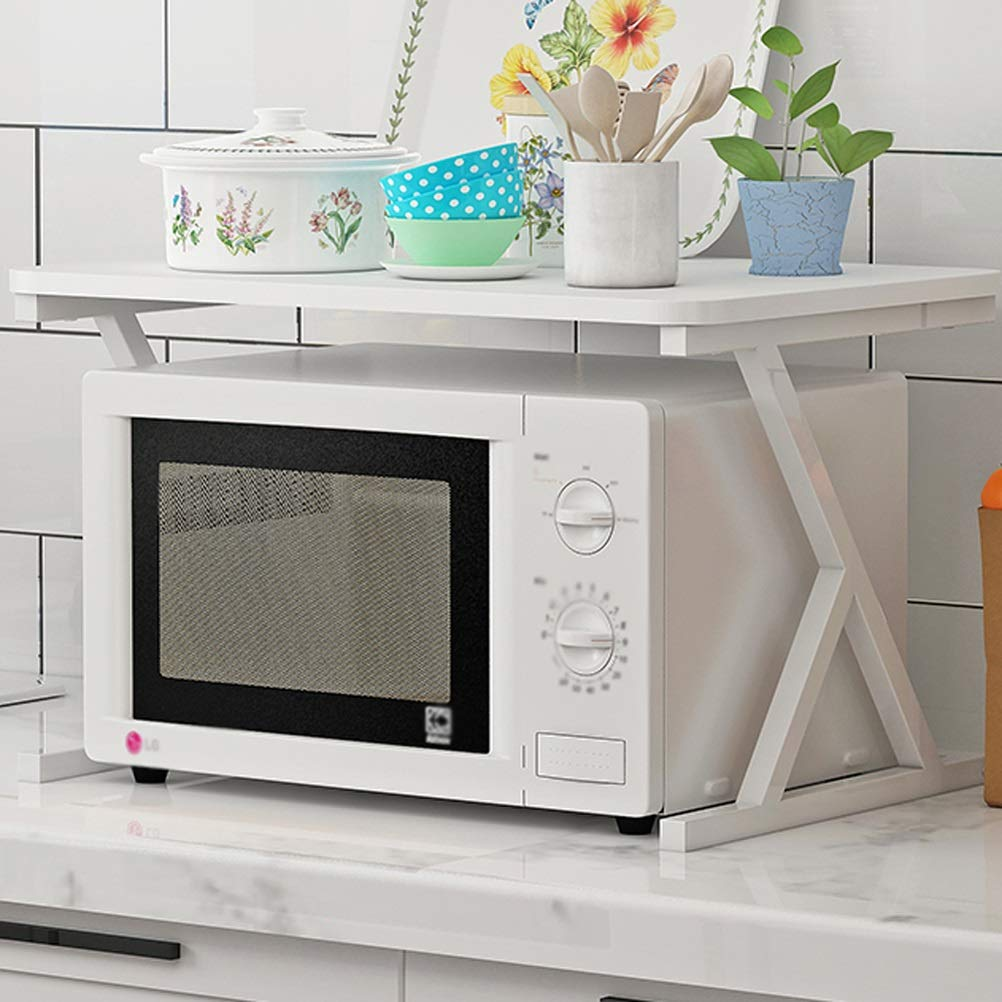 Pure white+white frame Microwave Oven Rack Household Kitchen 2-Layer Oven Storage Tableware Juicer Shelf 04.19 (color   Pure White+White Frame)