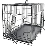 """Paws & Pals 30"""" Large Dog Crate, Double-Doors Folding Metal w/ Divider & Tray 30"""" x 18"""" x 20"""" 2019 Newly Designed Model"""