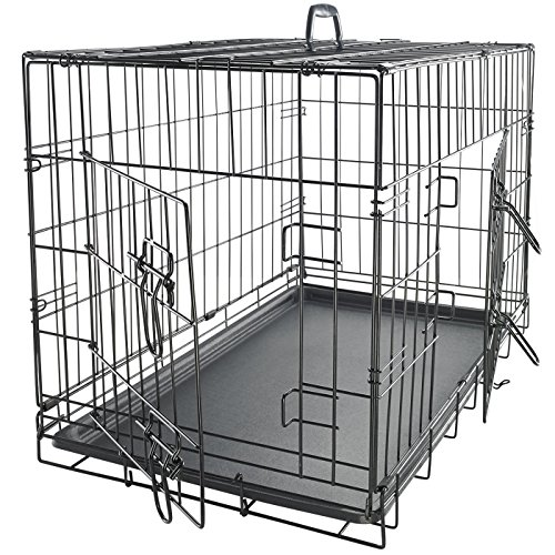 Paws & Pals 30 Large Dog Crate, Double-Doors Folding Metal w/ Divider & Tray 30 x 18 x 20 2019 Newly Designed Model