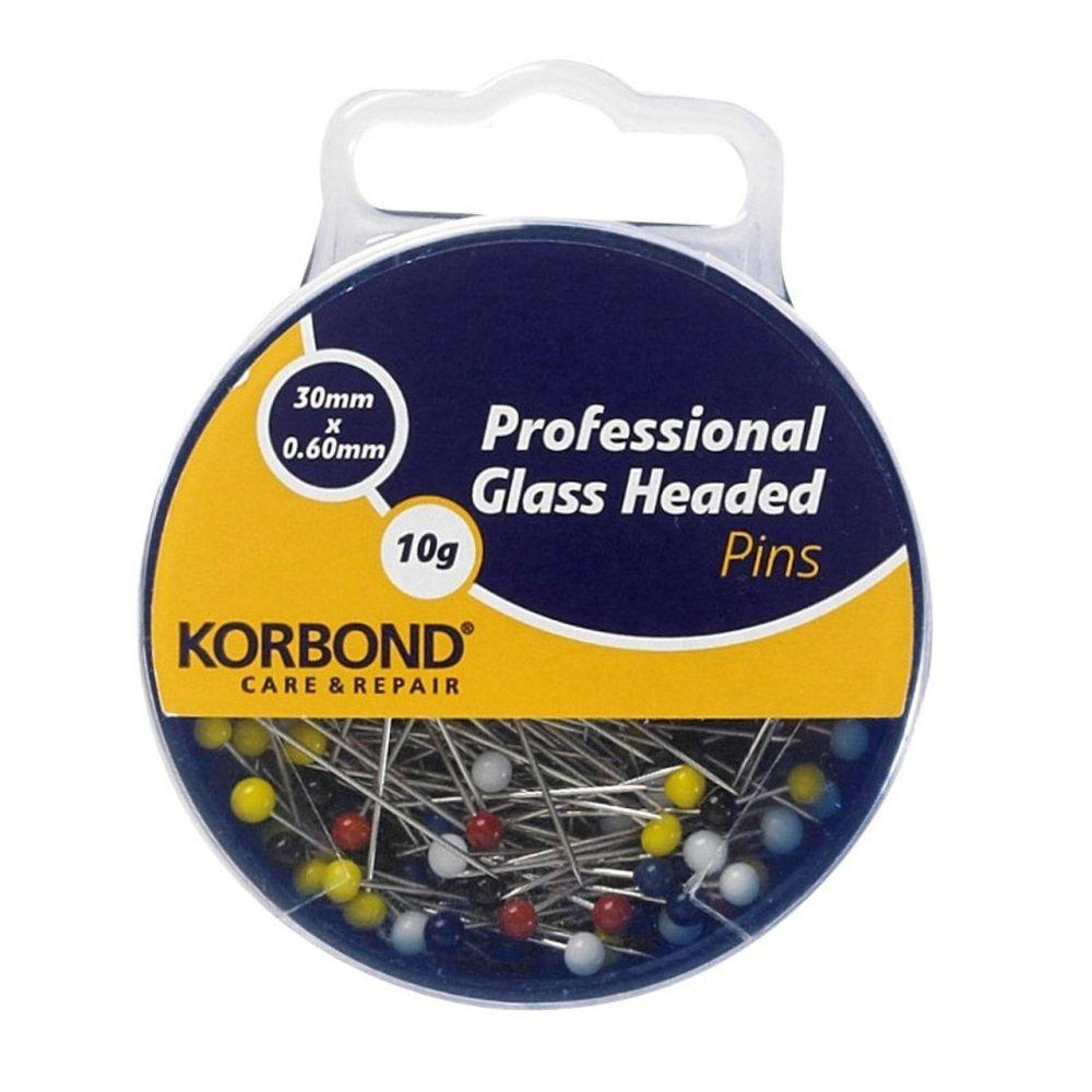 Korbond 10 g de alfileres cabeza de vidrio para uso profesional 190008
