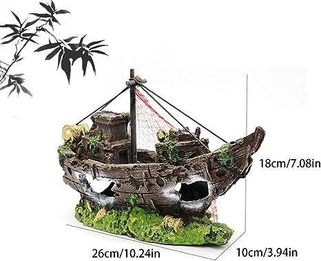 Amazon Com Inveroo 1pc Resin Rockery Stone Pirate Ship Aquarium