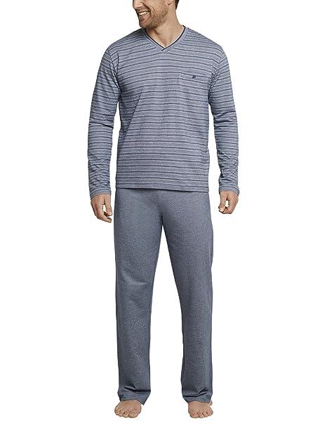 Schiesser Anzug Lang, Conjuntos de Pijama para Hombre, Azul (Dunkelblau-Mel.