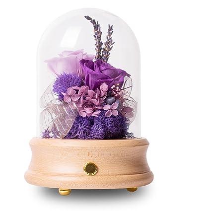 Blue demon ji yongsheng flor Caja de música de coloridas rosas Eterna caja de regalo de