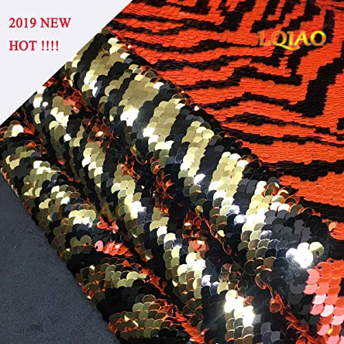 LQIAO Reversible Sequin Fabric by The Yard Zebra Organge Light Gold Mermaid Fish Scale Sequin Fabric Flip Up Color Change Sequin Fabric
