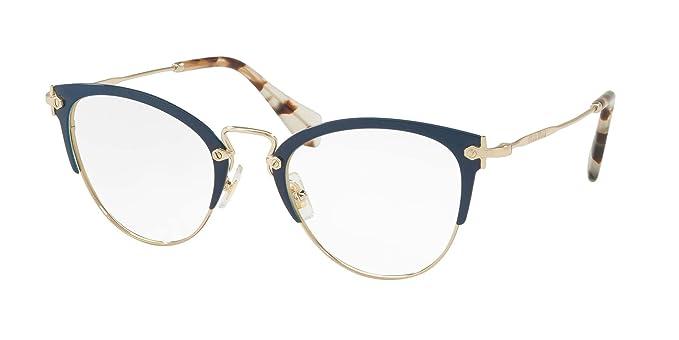 832898a08a31e9 Miu Miu MU 50QV - VYH1O1 Eyeglass Frame BLUE PALE GOLD w  Clear Demo ...