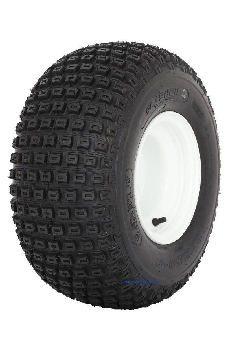 Slasher Knobby 18x9.50-8'' Golf Cart Tires / ATV Tires and 8'' White Steel Golf Cart Wheel Combo - Set of 2 by Golf Cart Tire Supply (Image #3)