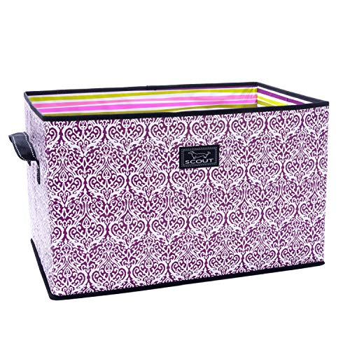 Baker Trunk - SCOUT Junque Trunk Extra Large Collapsible Storage Bin, Folds Flat with Reinforced Bottom, Water Resistant, Rule of Plum