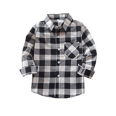 41543d5972602 Amazon.com: Tortor 1Bacha Kid Girl Boy Long Sleeve Button Down Plaid ...