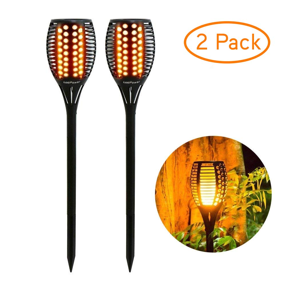 Solar Lights Outdoor Waterproof Dancing Flickering Flames Torches Lights 96 LED Landscape Decoration Lighting Dusk to Dawn Auto On/Off Solar Security Spotlight for Garden, Patio, Yard, Driveway-2 Pack