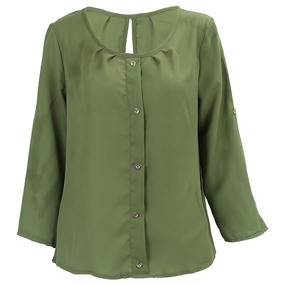TOOGOO Blusa de Chifon de Mujer Informal de Primavera Otono Camisa Suelta de O-Cuello