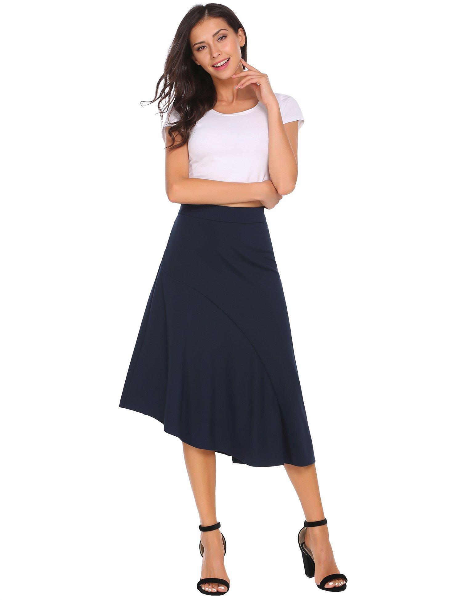 Zeagoo Elastic Waist Women's Asymmetrical High Low Skirt Navy Blue L