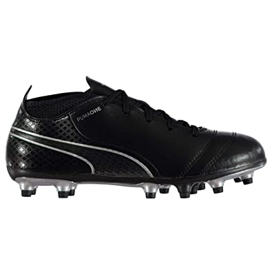 Puma One 17.4 FG Firm Ground Football Boots Juniors Black Soccer Shoes  Cleats 8f4489285ec