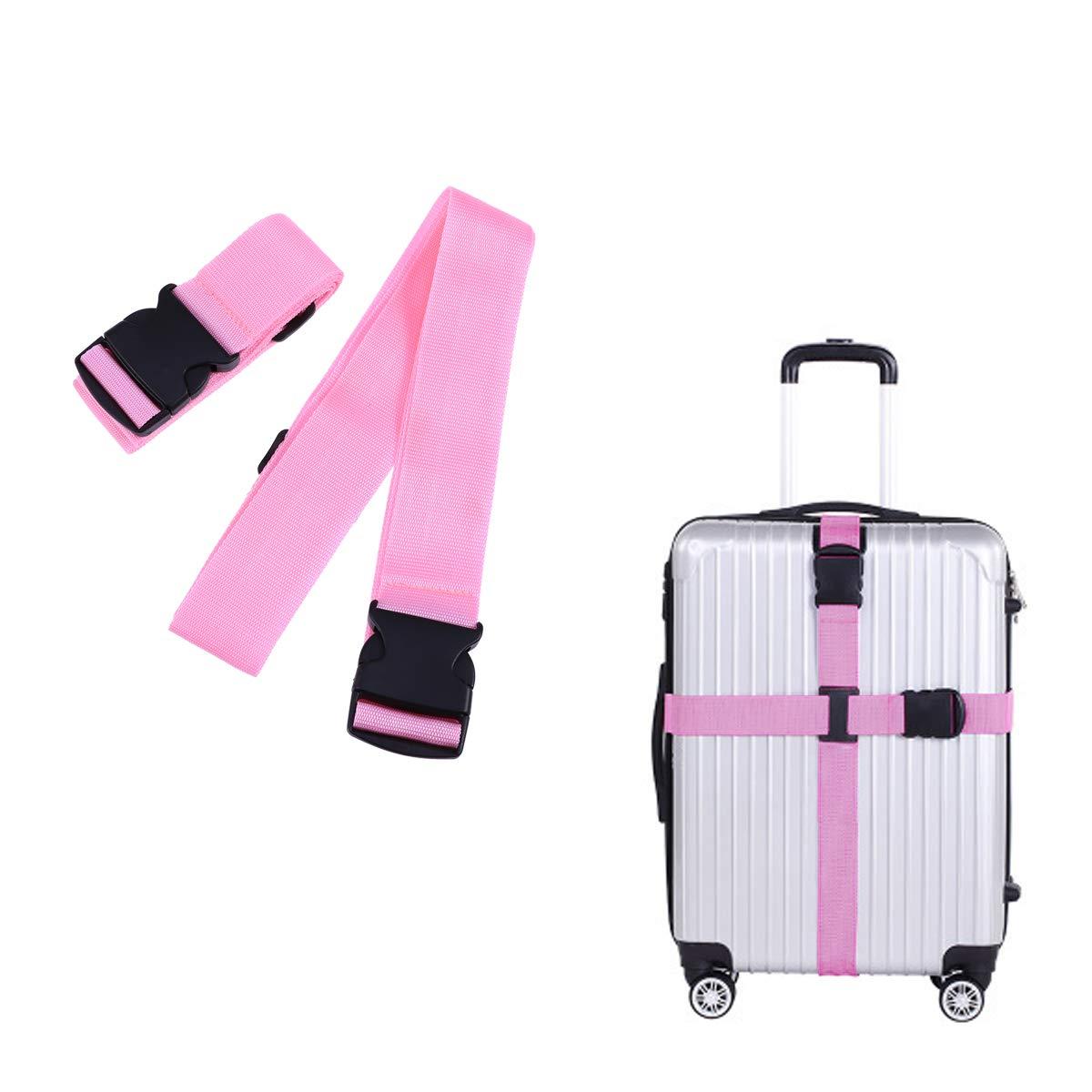 VORCOOL Travel Adjustable Luggage Strap Heavy Duty Suitcase Baggage Belt Release Buckle (Pink)