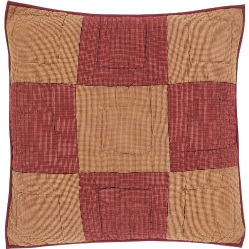 VHC Brands Classic Country Primitive Bedding - Ninepatch Star Red Quilted Euro Sham ()