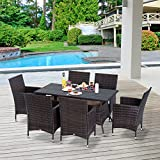 Outsunny 7PC Rattan Dining Furniture 6 Seater Wicker Table Chair Set for Conservatory Garden Backyard Patio Brown