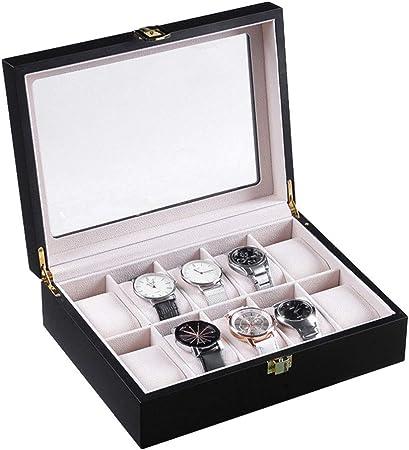 Caja Estuche Organizador de Relojes, Hombres Mujeres Borre Top 10 ranuras elegante clásica de visualización Caja de relojes de moda del escaparate de regalos caso del almacenaje del sostenedor del org: Amazon.es: