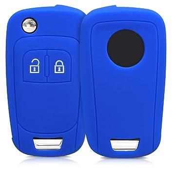 kwmobile Funda de Silicona para Llave Plegable de 2 Botones para Coche Opel Chevrolet - Carcasa Protectora Suave de Silicona - Case Mando de Auto Azul