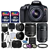 Canon EOS Rebel T6 Digital SLR Camera + Canon 18-55mm EF-S f/3.5-5.6 IS II Lens & EF-S 55-250mm f/4-5.6 IS STM Lens + Wide Angle Lens + 58mm 2x Lens + Auto Power Flash + 32GB SDHC Card + Accessory Kit