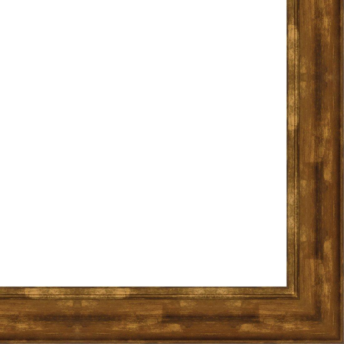 Picture Frame Moulding (Wood) 18ft bundle - Traditional Antique Gold Finish - 4.375'' width - 3/4'' rabbet depth