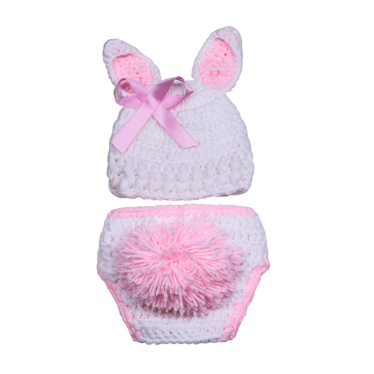 ISOCUTE Newborn Photography Props Baby Girl Easter Bunny Crochet Knitted Rabbit Set by ISOCUTE (Image #2)