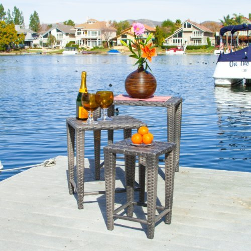 Mayall Patio Furniture 3 Piece Grey Nested Outdoor Wicker Side Table Set ()