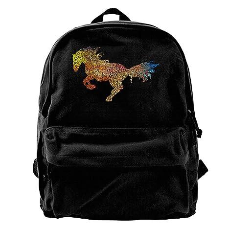 Asfbau Bnjazzp Sparkle Horse Watercolor Horse Design Unisex Classic Canvas  Travel Backpack Rucksack School Bags 4e05594febbec