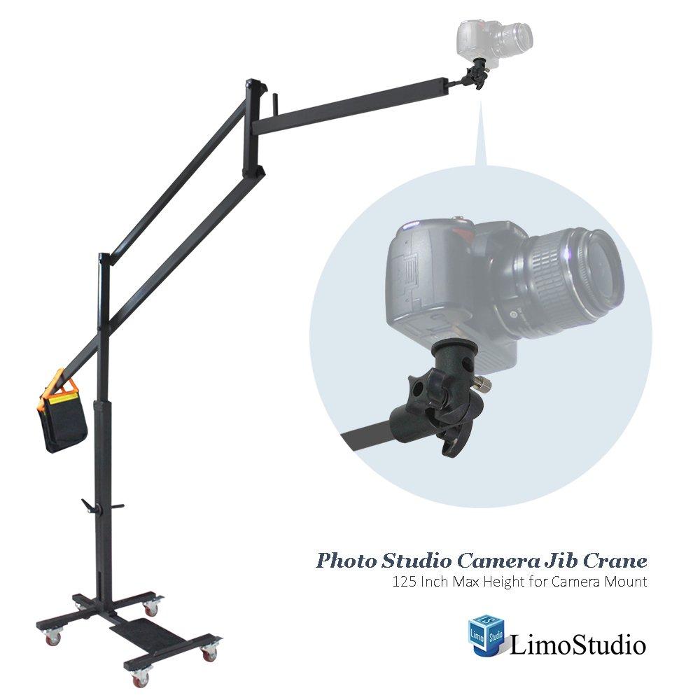 LimoStudio DSLRカメラビデオカメラJibクレーンの写真ビデオスタジオ、125インチ/ 10 ft。Max高さforカメラマウントカメラマウントブラケットアダプタ重量サンドバッグ、ホイール付きドリートラックベース、agg2182   B01N1FSTRN